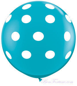 Polka Dot Teal Giant Round Balloon with Ribbon Tassel