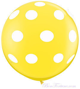 Polka Dot Yellow Giant Round Balloon with Ribbon Tassel