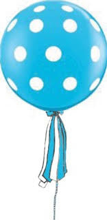 Polka Dot Robin's Egg Giant Round Balloon with Ribbon Tassel