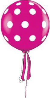 Polka Dot Peony Giant Round Balloon with Ribbon Tassel