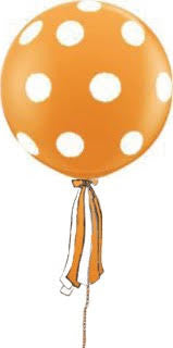 Polka Dot Orange Giant Round Balloon with Ribbon Tassel