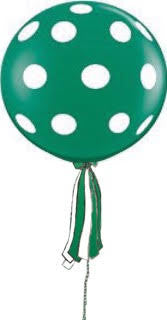 Polka Dot Green Giant Round Balloon with Ribbon Tassel