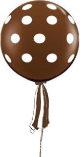 Polka Dot Chocolate Brown Giant Round Balloon with Ribbon Tassel