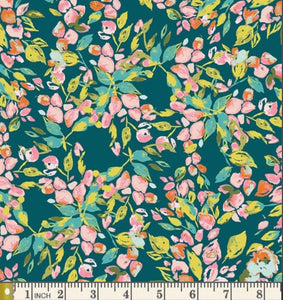 Bougainvillea Evergreen Fabric, Sage Collection by Bari J. For Art Gallery Fabrics