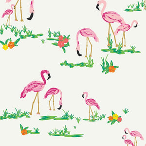Flamingo Field Pearl Fabric | West Palm Collection by Katie Skoog For Art Gallery Fabrics