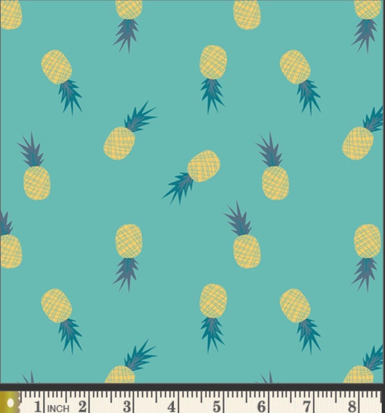 Ananas Aqua Fabric, Sirena Collection by Jessica Swift For Art Gallery Fabrics
