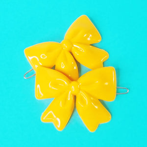 VINTAGE BOW BARRETTES - YELLOW