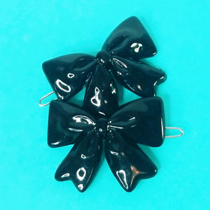 VINTAGE BOW BARRETTES - BLACK