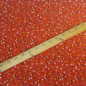 VINTAGE FABRIC BABY BOLT HALF-YARD -  FIFTIES' DITSY FLORAL IN YELLOW, PINK & WHITE ON PERSIMMON ORANGE