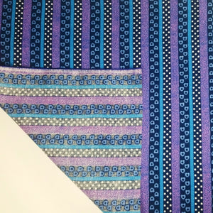 VINTAGE FABRIC BABY BOLT HALF-YARD -  FIFTIES' STRIPE, POLKA DOT & SHAPES PRINT IN BLUES & PURPLES