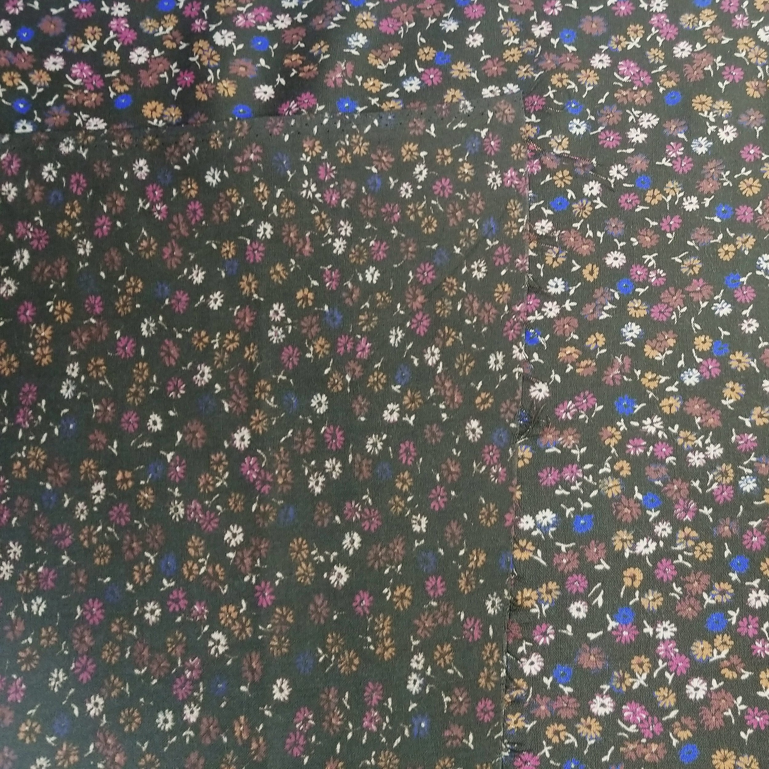 VINTAGE FABRIC BABY BOLT HALF-YARD -  SEVENTIES' SMALL FLORAL IN BROWNS, RASPBERRY & ROYAL BLUE
