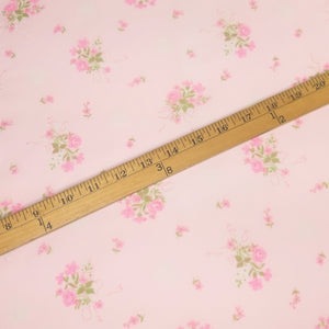 VINTAGE FABRIC BABY BOLT HALF-YARD -  SEVENTIES' SEMI-SHEER FLORAL IN ROMANTIC PASTEL PINK