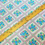 Load image into Gallery viewer, VINTAGE FABRIC BABY BOLT HALF-YARD - CUTE FAUX PATCHWORK & FLOWERS PRINT IN BLUE, GREEN & NEON PINK ON WHITE