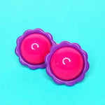 Load image into Gallery viewer, VINTAGE FLOWER POWER PONYTAIL HAIR BOBBLES - PINK/PURPLE