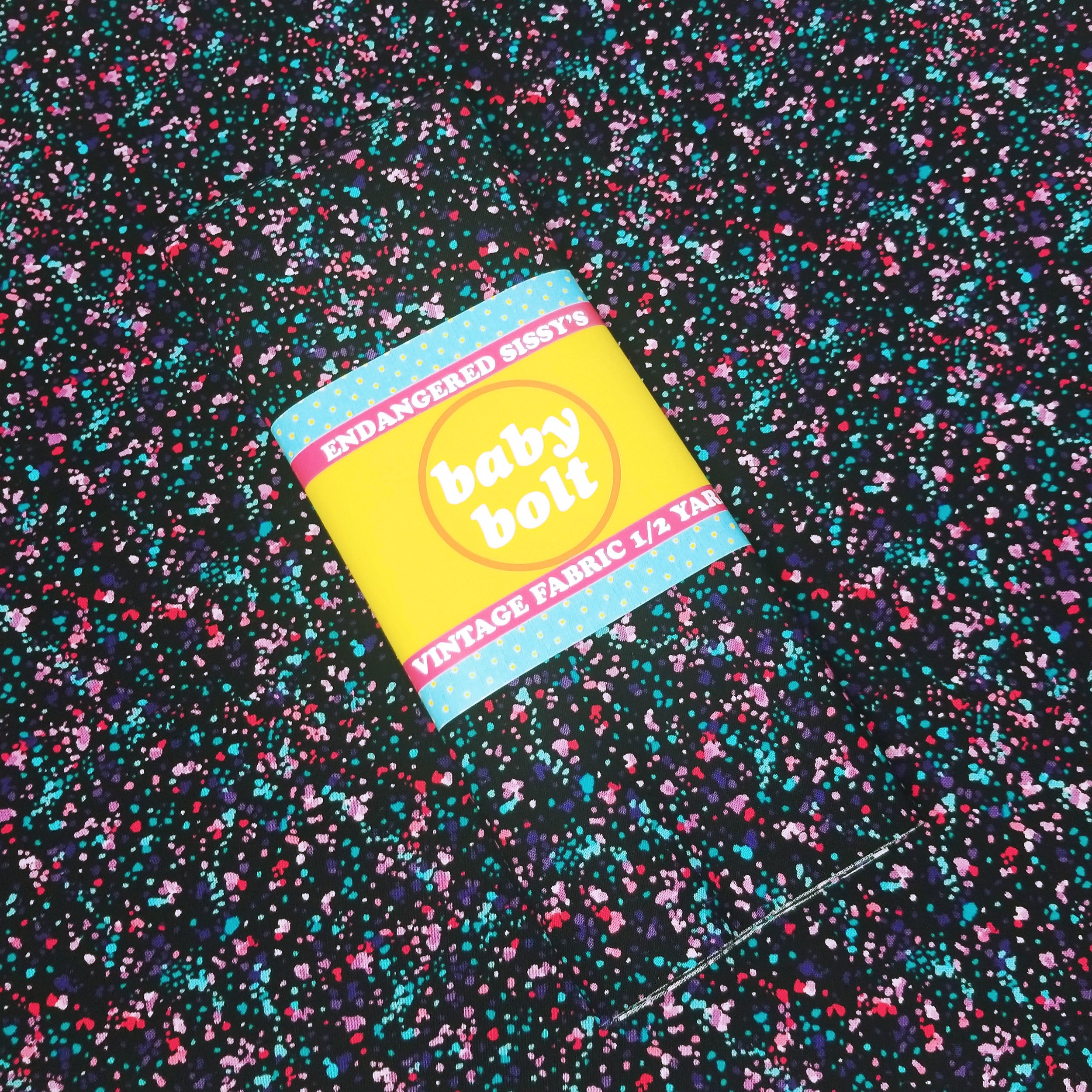 VINTAGE FABRIC BABY BOLT HALF-YARD -  EIGHTIES' SPLATTER PRINT IN BRIGHTS ON BLACK