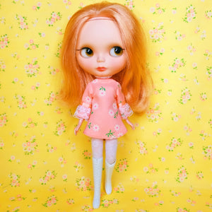 FLOCKED FROCKS COLLECTION - GIRLY-GIRL MINI-DRESS - PEACH