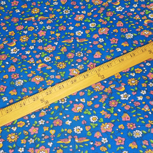 VINTAGE FABRIC BABY BOLT HALF-YARD -  FIFTIES' BIRD-AND-FLOWER PRINT IN PINK, GOLDEN YELLOW & GREEN ON ROYAL BLUE