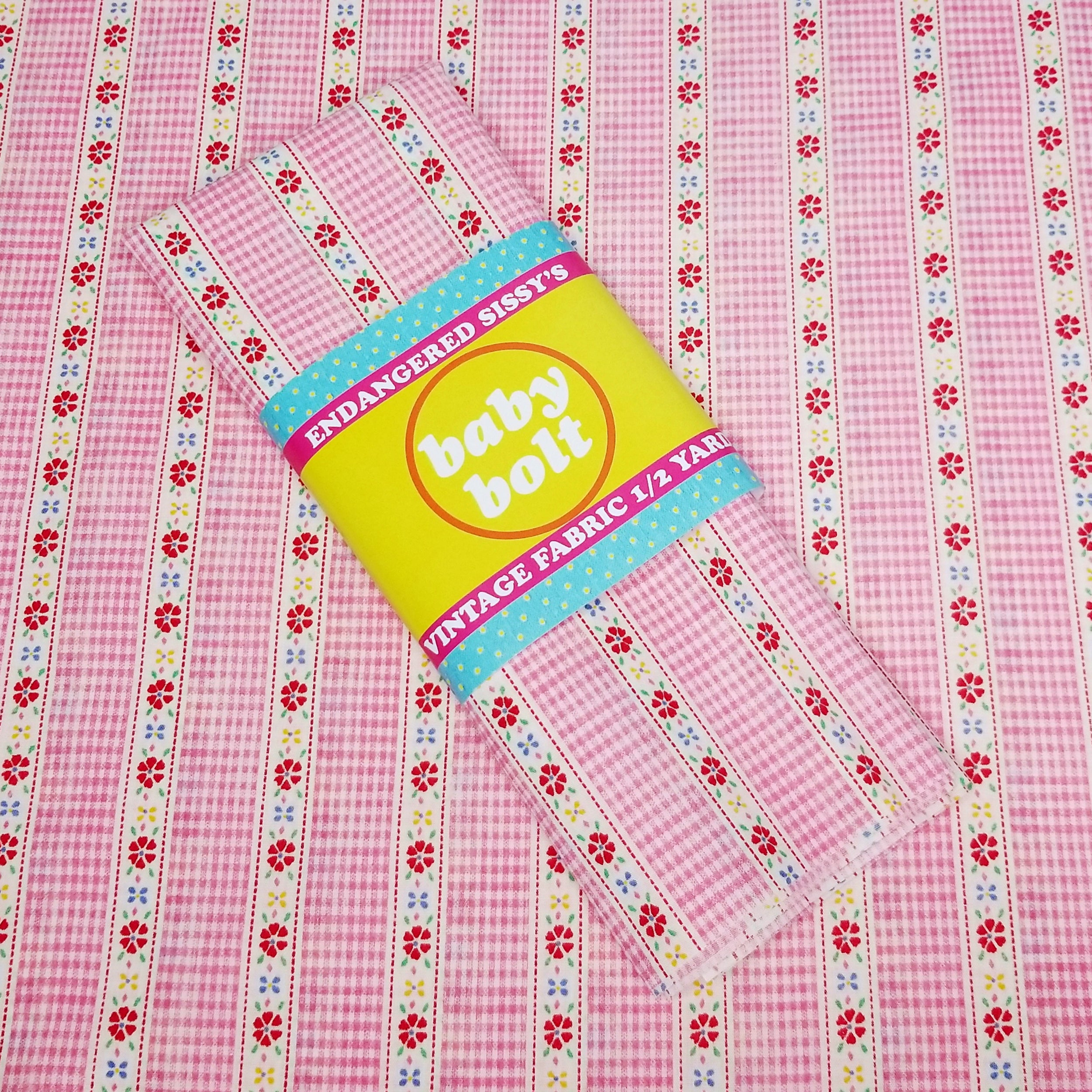 VINTAGE FABRIC BABY BOLT HALF-YARD -  SIXTIES' GINGHAM & FLOWER STRIPE RIBBON PRINT IN PINK, WHITE & PRETTY PRIMARIES