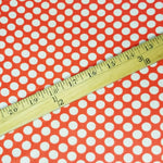 Load image into Gallery viewer, VINTAGE FABRIC BABY BOLT HALF-YARD -  FIFTIES' POLKA DOT PRINT IN BRIGHT ORANGE-RED AND NATURAL WHITE