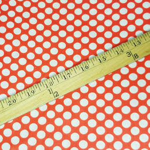 VINTAGE FABRIC BABY BOLT HALF-YARD -  FIFTIES' POLKA DOT PRINT IN BRIGHT ORANGE-RED AND NATURAL WHITE