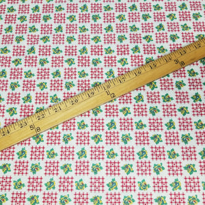 VINTAGE FABRIC BABY BOLT HALF-YARD -  EIGHTIES' HEARTS & FLOWERS PRINT IN RED, GREEN, YELLOW & WHITE
