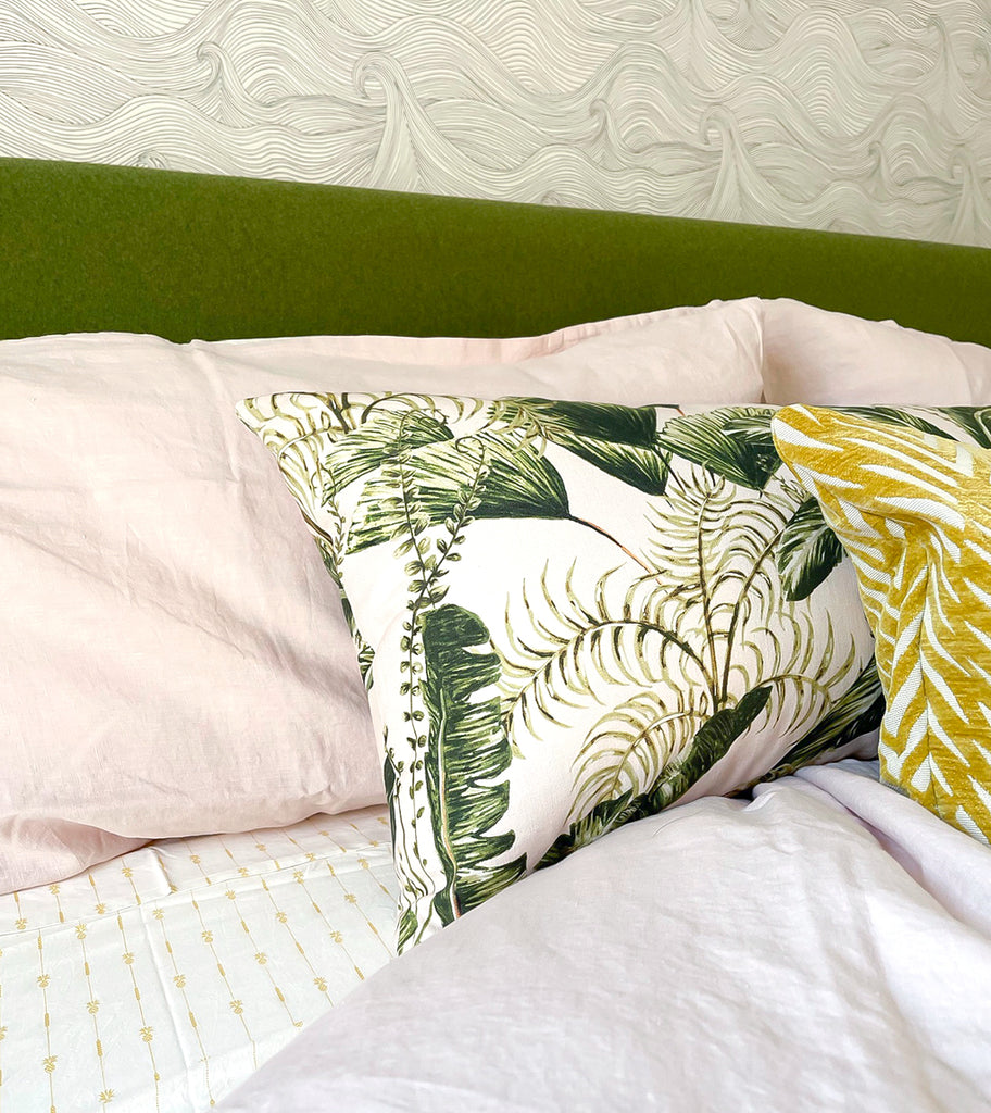 Tropical palm leaf bed pillow
