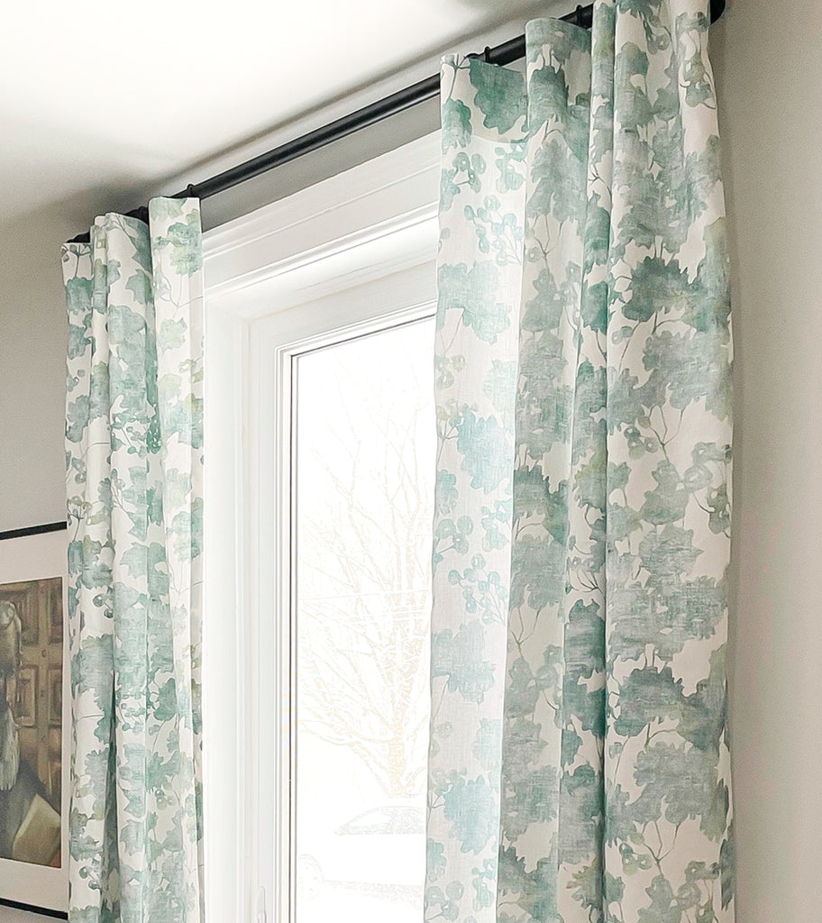 Painterly green floral drapes from Hemme Custom
