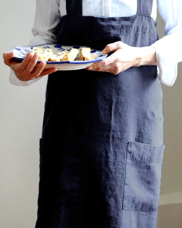 Annie Linen Smock Apron in Ink Blue from Hemme