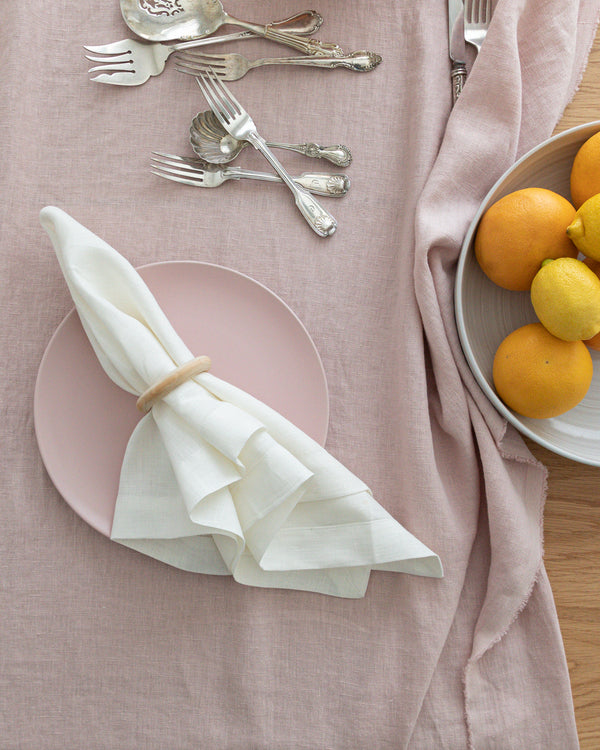 Grace white linen napkin from Hemme