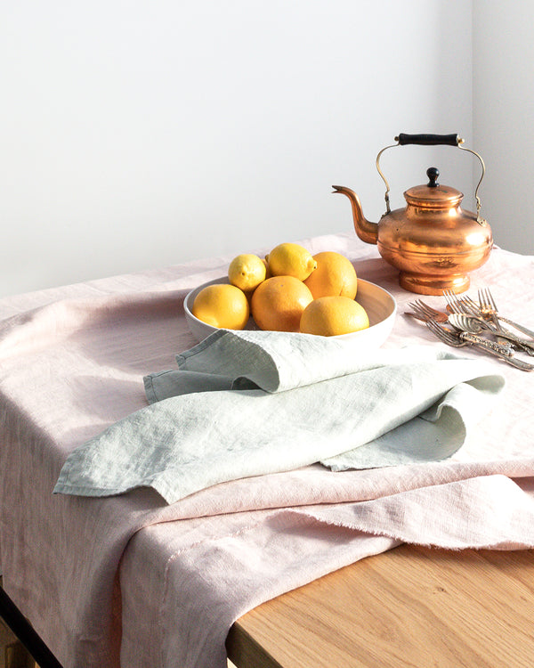 Blue stonewashed linen tea towel from Hemme