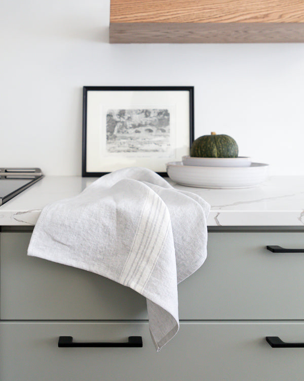 Raymonde Stonewashed Striped Linen Tea Towel from Hemme