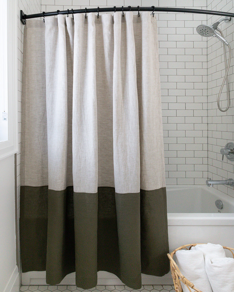 Spencer colour-blocked linen shower curtain from Hemme
