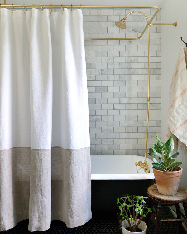 Spencer white and natural colour-blocked linen shower curtain from Hemme