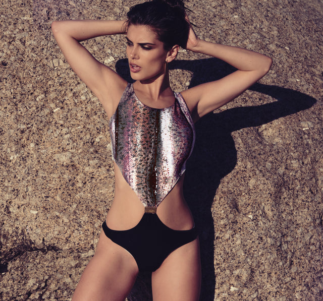 Champagne Skin & Velour Cut Out Swimsuit