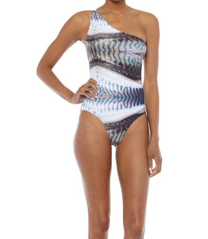 Designer asymmetric swimsuit