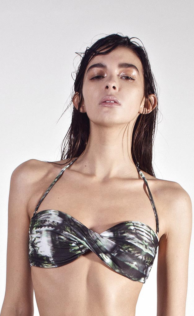 Negative Twisted-bandeau Bikini Top