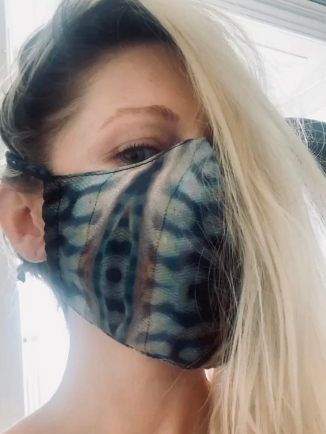 Gaia Print Silk Face Mask  MONA SWIMS