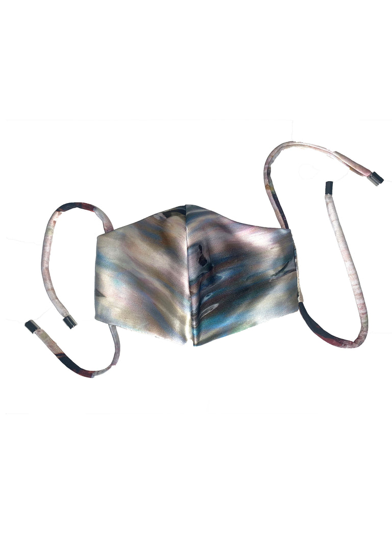 Silk Face Mask Iridescent Shell Print