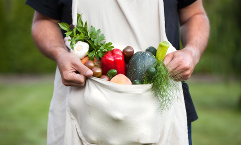 Man holding sack of vegetables