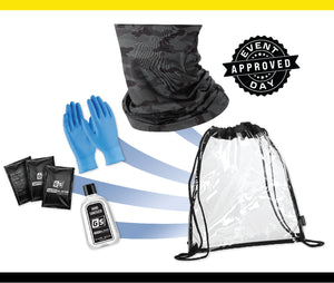 Clear Stadium Drawstring Backpack PPE kit w/ Black Camo Gaiter