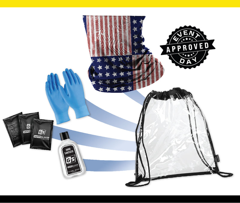 Clear Stadium Drawstring Backpack PPE kit w/ USA Gaiter