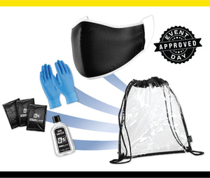 Clear Stadium Drawstring Backpack PPE Kit w/ Black Cloth Mask