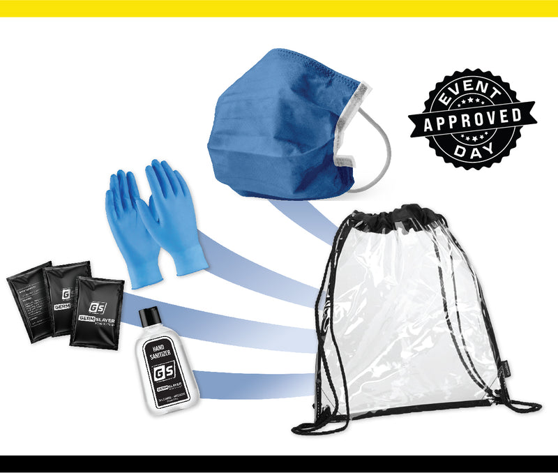 Clear Stadium Drawstring Backpack PPE kit w/ Disposable Mask