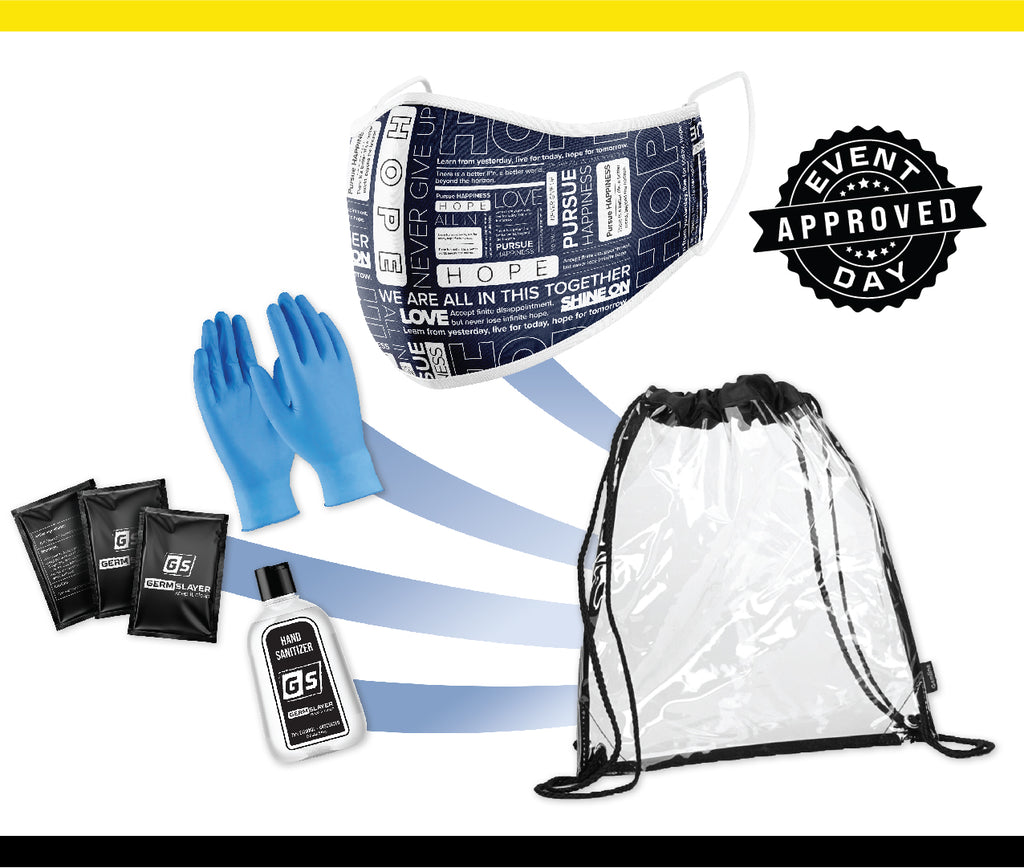 Clear Stadium Drawstring Backpack PPE kit w/ HOPE Mask