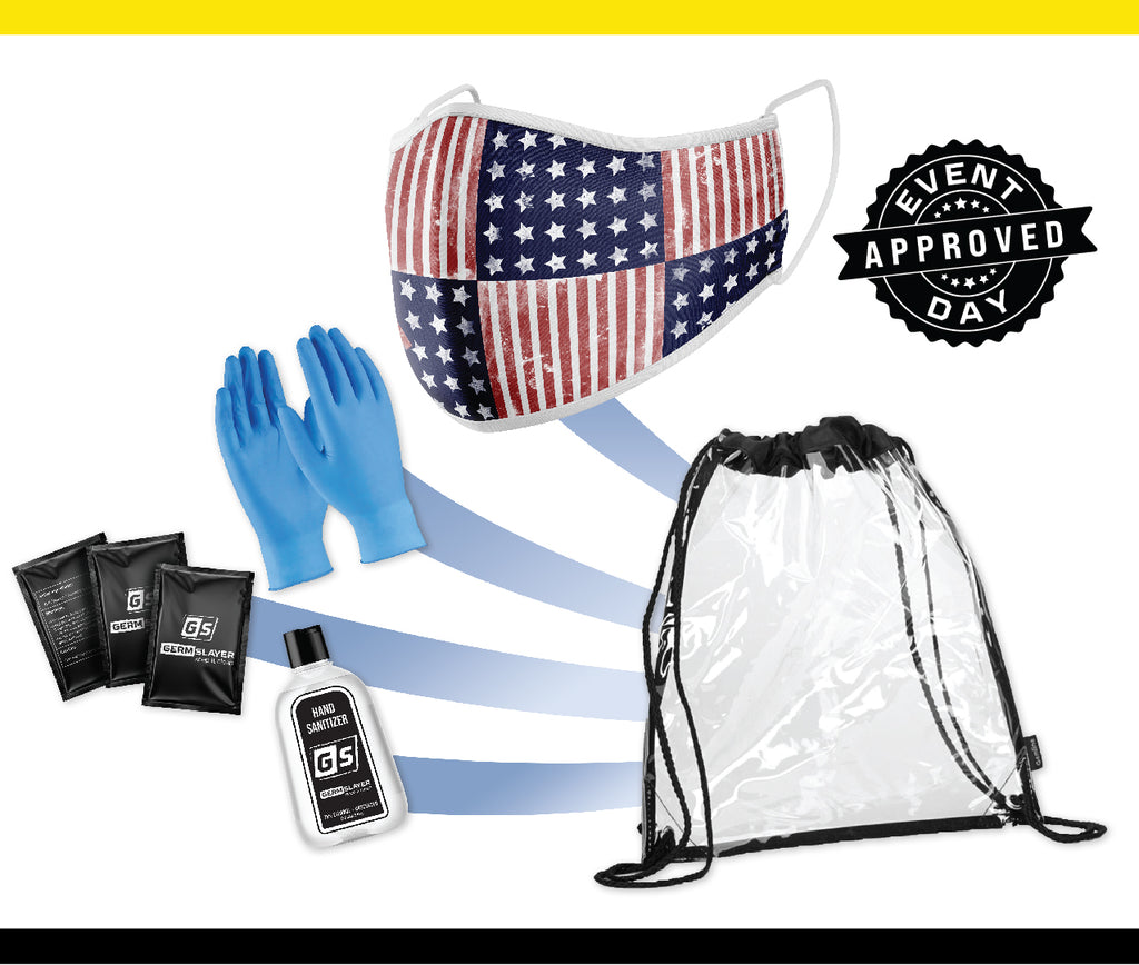 Clear Stadium Drawstring Backpack PPE kit w/ USA Mask