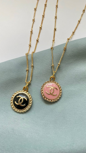 Pink Dainty Chanel Necklace