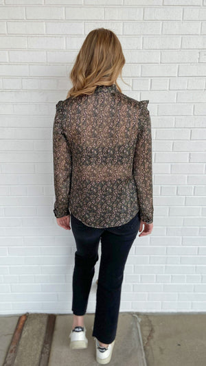 Load image into Gallery viewer, Black Paisley Ruffle Top