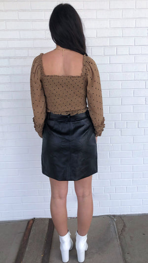 Black Buckle Up Leather Skirt
