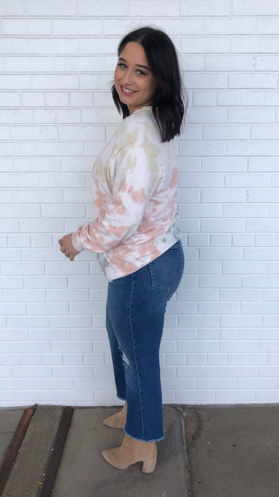 Neutral Tie Dye French Terry Pullover