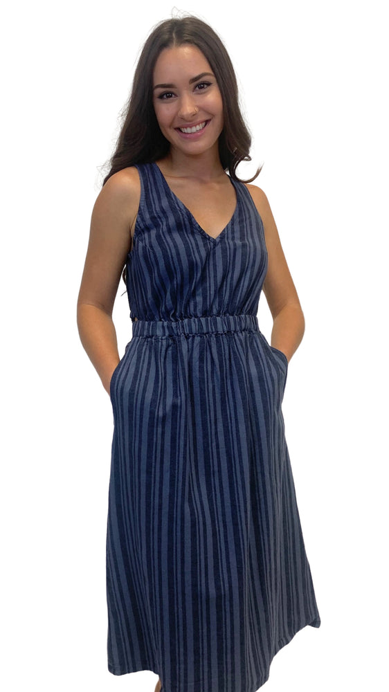 Load image into Gallery viewer, Navy Striped Midi Dress